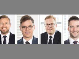 Neue Partner bei Lutz Abel: Björn Weidehaas, Philipp Hoene, Frank Hahn, Dr. Bernd Flucke (v.l.n.r.)